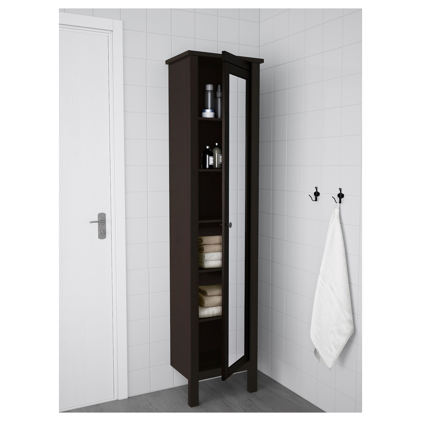 HEMNES High cabinet with mirror door Black brown stain 49x31x200 cm IKEA