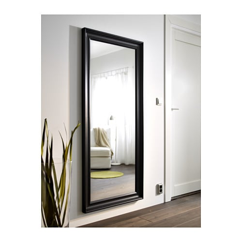 Hemnes mirror black brown 74x165 cm ikea for Miroir jondal ikea
