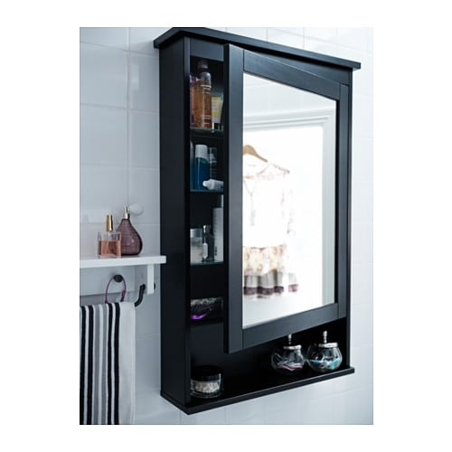 Ikea Glass Door Cabinet Mirror ~ HEMNES Mirror cabinet with 1 door Black brown stain 63x16x98 cm  IKEA