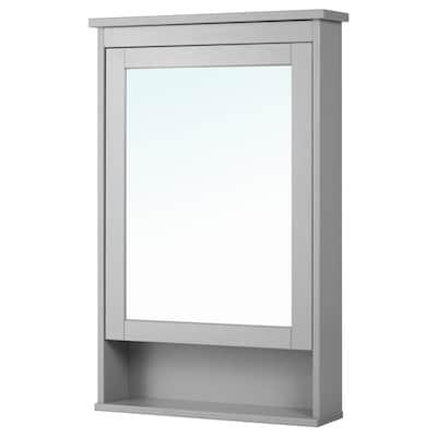 HEMNES Mirror cabinet with 1 door, grey, 63x16x98 cm