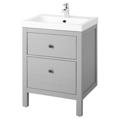 HEMNES / ODENSVIK Wash-stand with 2 drawers, grey, 63x49x89 cm