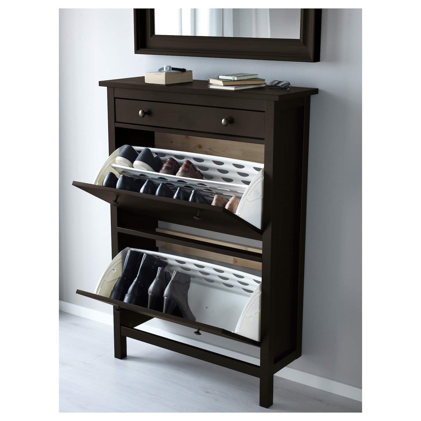 Hemnes shoe cabinet with 2 compartments black brown 89x127 cm ikea Shoe cabinet bench