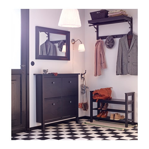 Aufbewahrung Ikea Gebraucht ~ HEMNES Shoe cabinet with 4 compartments Black brown 107×101 cm  IKEA