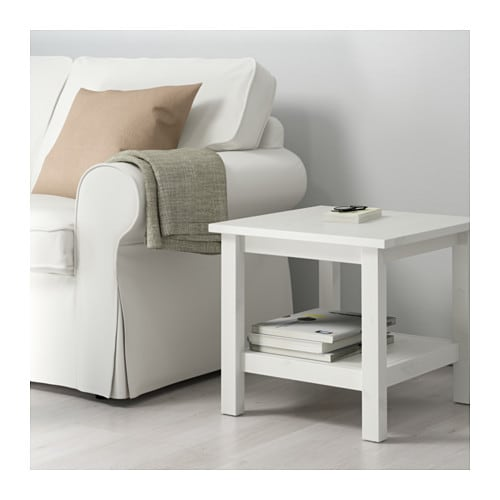 Hemnes side table white stain 55x55 cm ikea for White end table