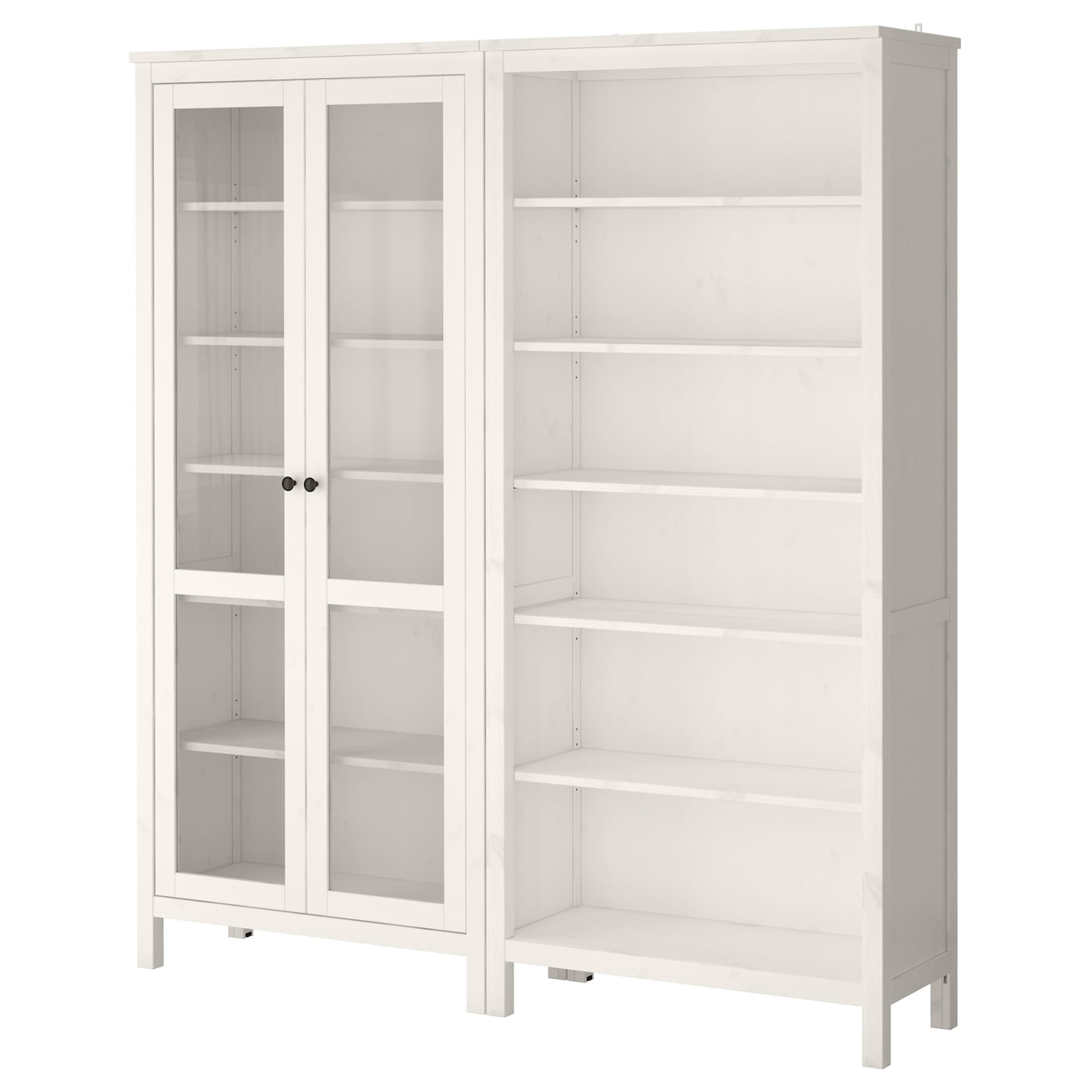 IKEA HEMNES storage combination w glass doors Solid wood has a natural feel.