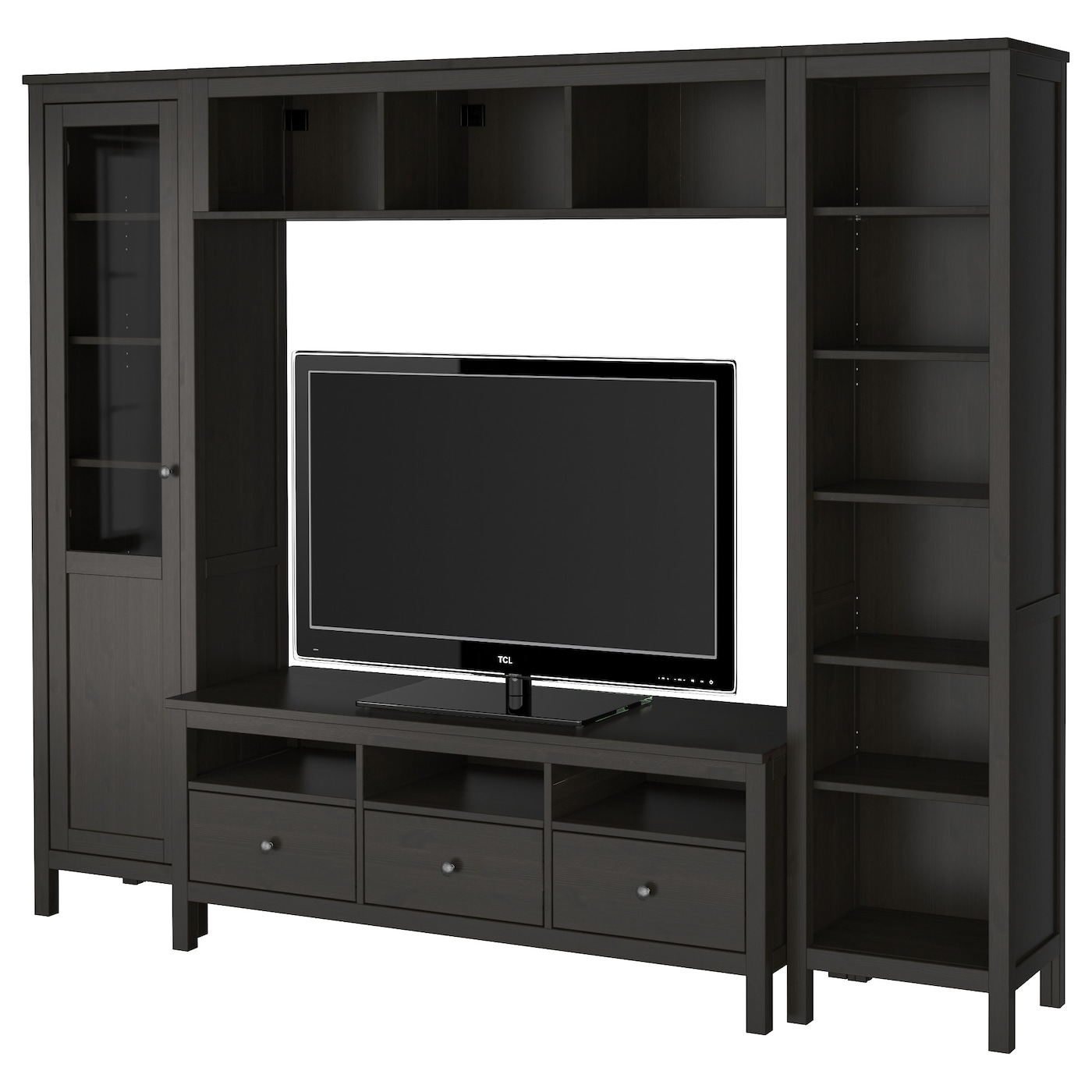 Hemnes tv storage combination black brown 246x197 cm ikea for Meuble cd dvd ikea