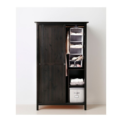 Hemnes Wardrobe With 2 Sliding Doors Black Brown 120x197 Cm Ikea
