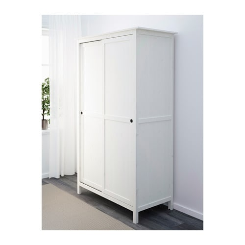hemnes wardrobe with 2 sliding doors white stain 120x197. Black Bedroom Furniture Sets. Home Design Ideas