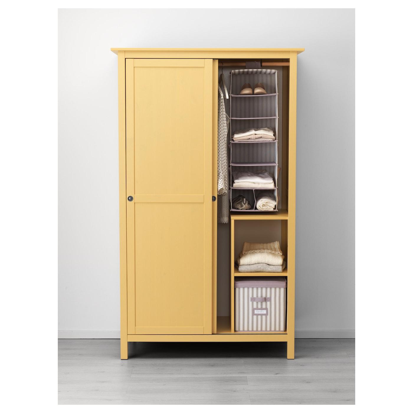 hemnes wardrobe with 2 sliding doors yellow 120 x 197 cm. Black Bedroom Furniture Sets. Home Design Ideas