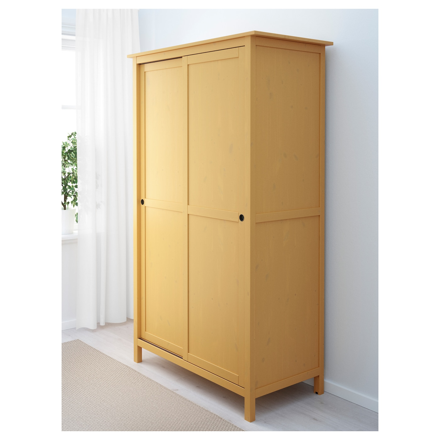 Hemnes wardrobe with 2 sliding doors yellow 120x197 cm ikea - Ikea placard coulissant ...