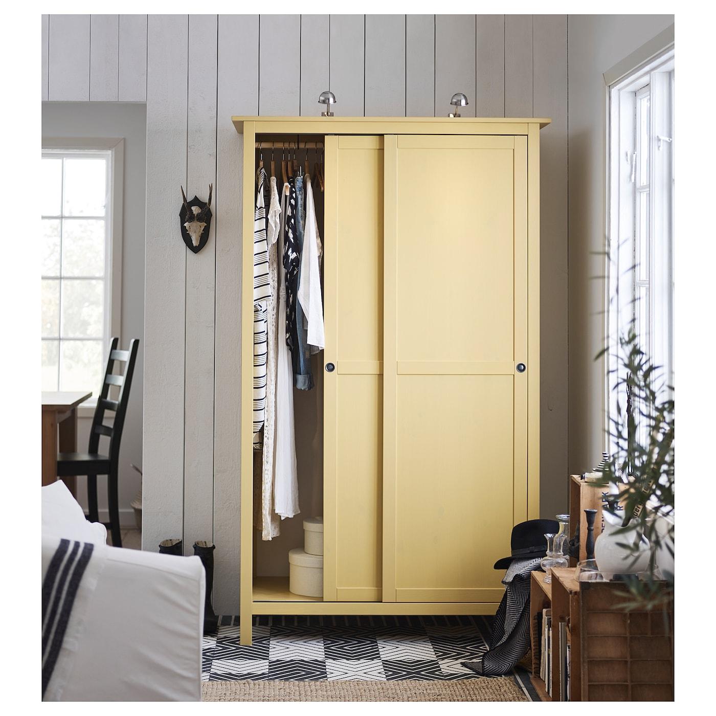 Ikea 2 Door Wardrobe: HEMNES Wardrobe With 2 Sliding Doors Yellow 120 X 197 Cm