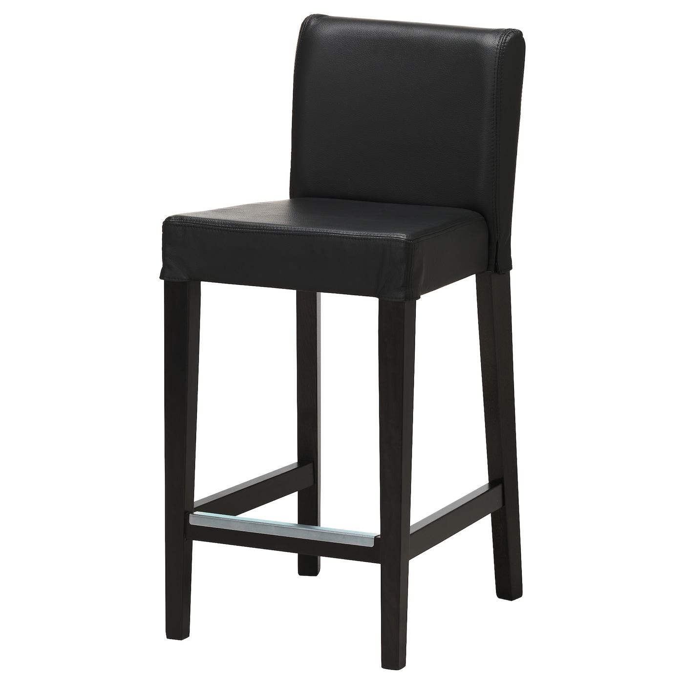 HENRIKSDAL Bar stool with backrest Brown black glose black 74 cm