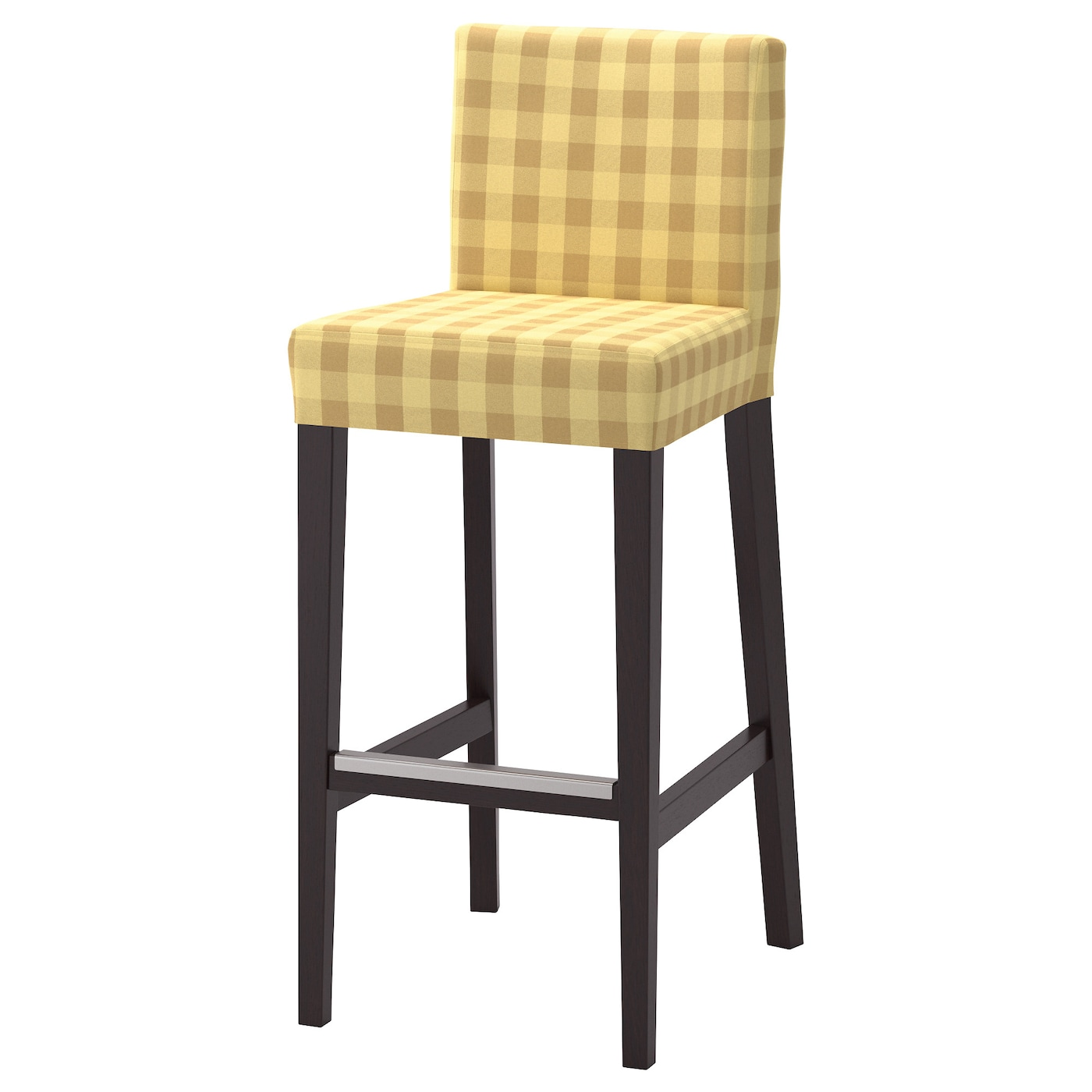 henriksdal bar stool with backrest brown black skaftarp yellow 74 cm ikea. Black Bedroom Furniture Sets. Home Design Ideas