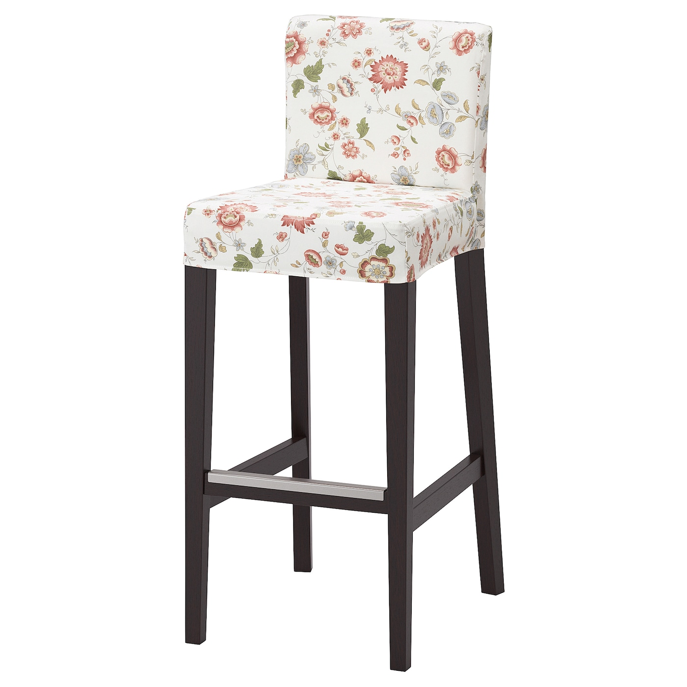 IKEA HENRIKSDAL bar stool with backrest The soft fabric cover both looks and feels comfy.