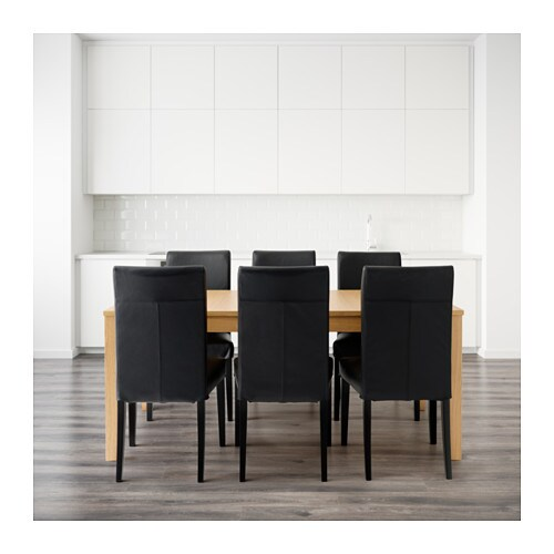bjursta table and 6 chairs oak veneer glose black 175 cm ikea