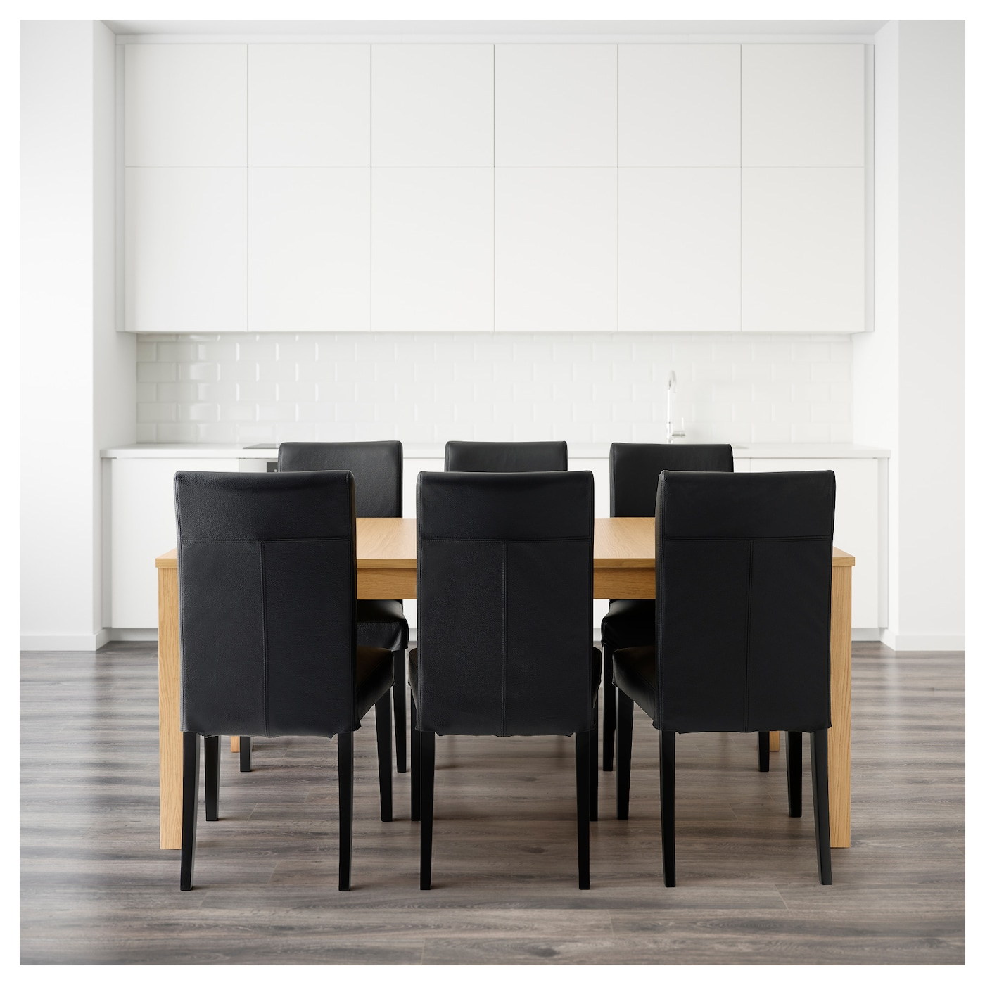 /BJURSTA Table And 6 Chairs Oak Veneer/glose Black 175 Cm IKEA. Full resolution‎  portraiture, nominally Width 2000 Height 2000 pixels, portraiture with #876844.