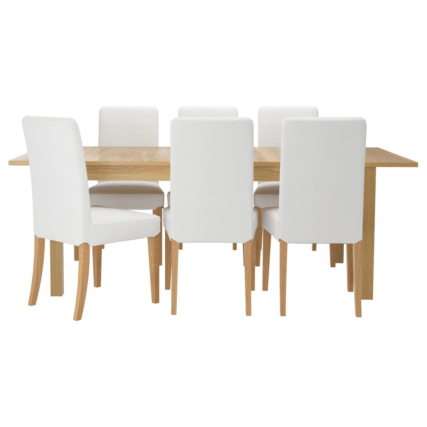 Henriksdal bjursta table and 6 chairs oak veneer gr sbo white 175 cm ikea - Ikea oak dining chairs ...