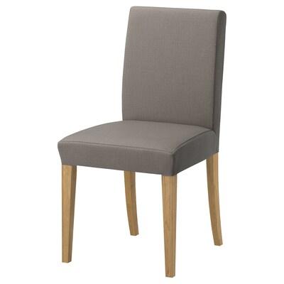 HENRIKSDAL Chair, oak/Nolhaga grey-beige