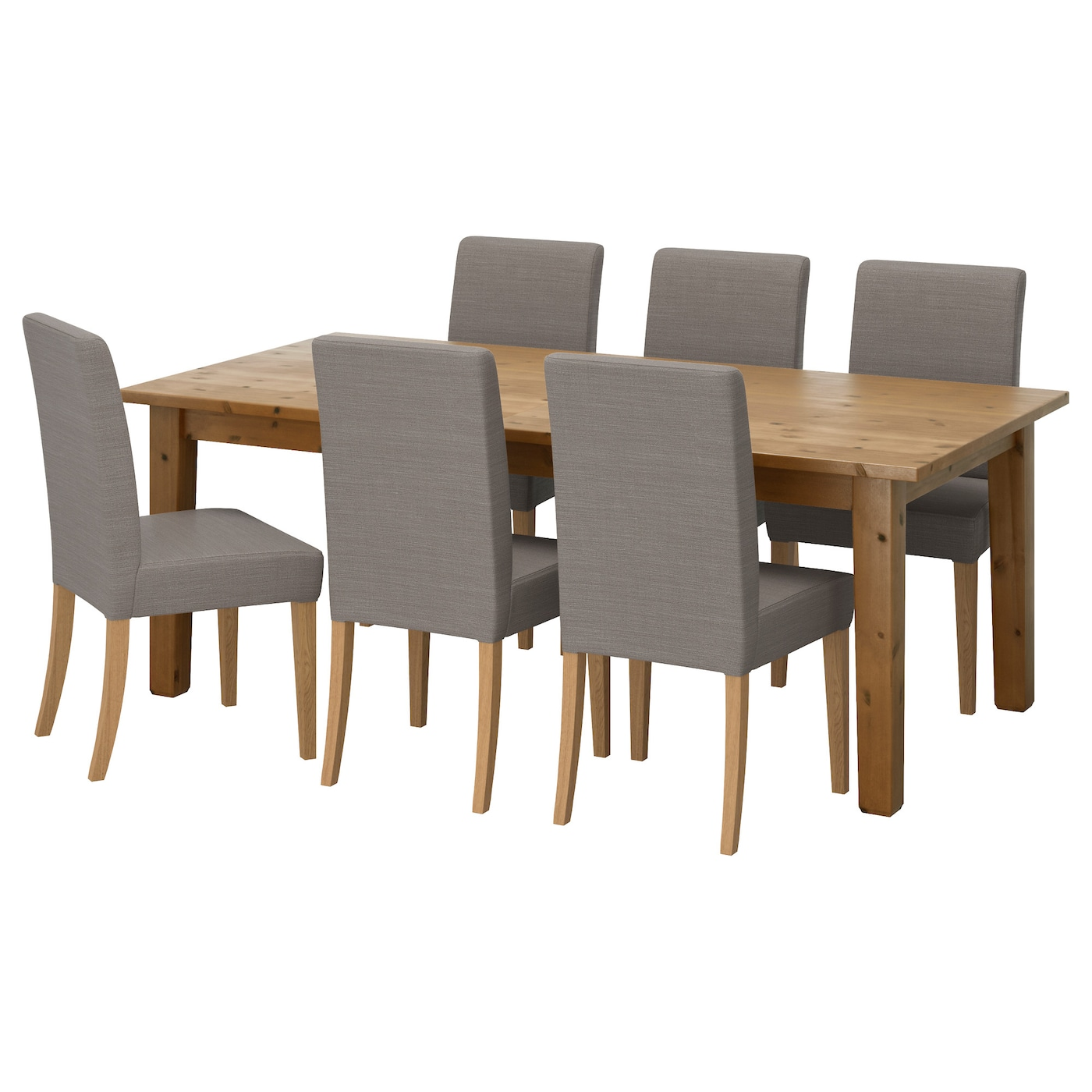 "HENRIKSDAL STORN""S Table and 6 chairs Antique stain nolhaga grey"