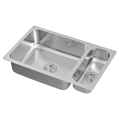 HILLESJÖN Inset sink 1 1/2 bowl, stainless steel, 75x46 cm