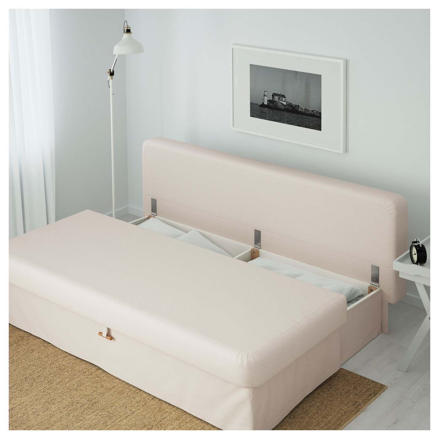 Himmene three seat sofa bed lofallet beige ikea for Sofa bed queen ikea