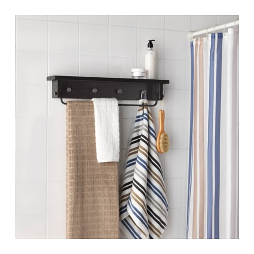 Hj lmaren towel hanger shelf black brown stain ikea Towel storage ideas ikea