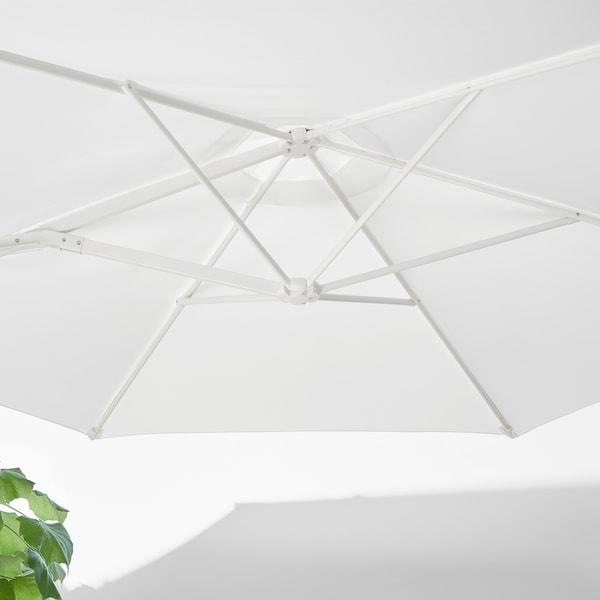 HÖGÖN parasol, hanging with base white/Svartö dark grey 170 g/m² 239 cm 270 cm
