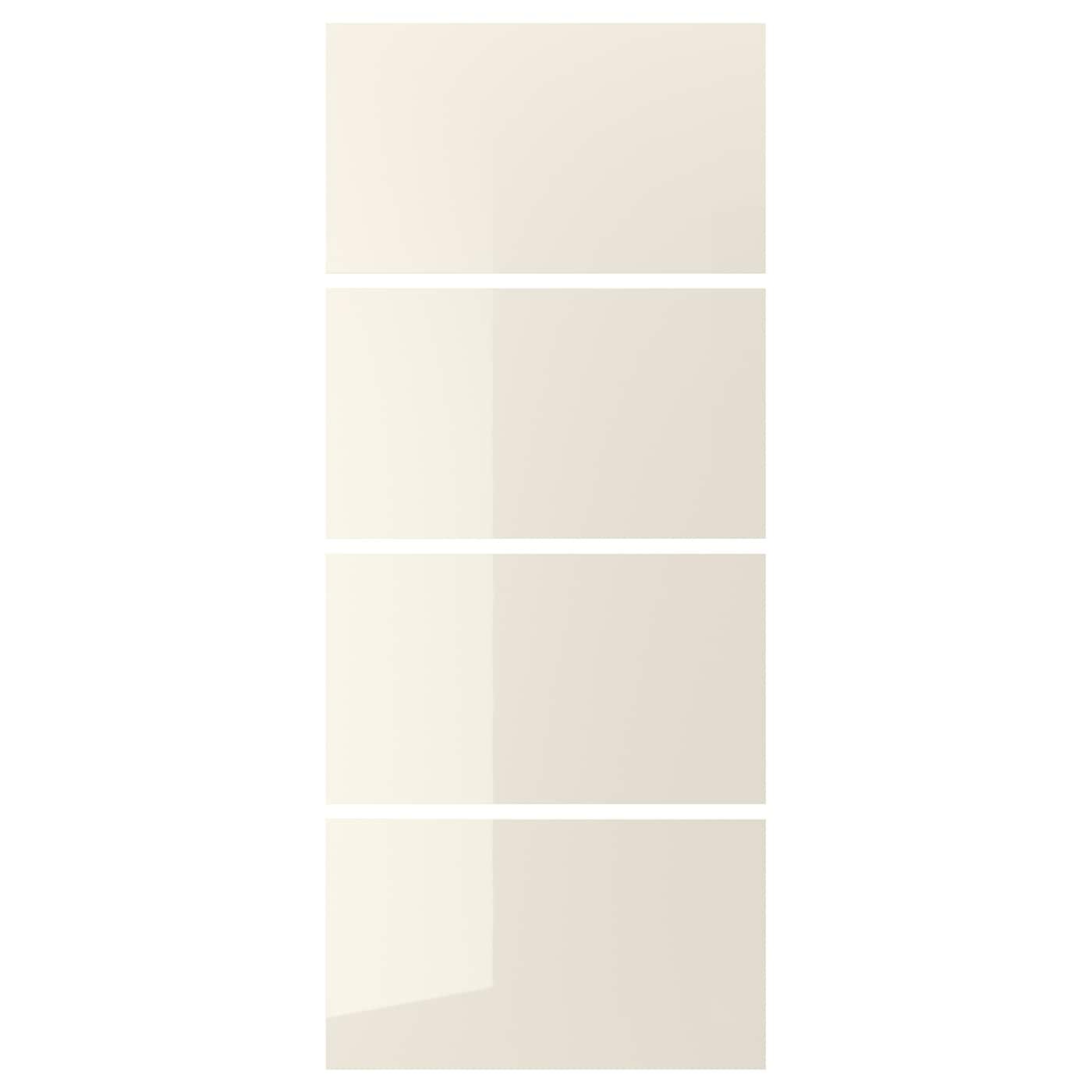Hokksund 4 Panels For Sliding Door Frame High Gloss Light Beige