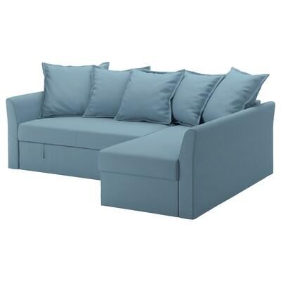 HOLMSUND Corner sofa-bed, Gräsbo light blue