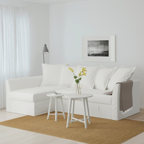 HOLMSUND Corner sofa-bed, Gräsbo white
