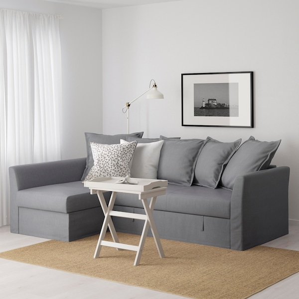 HOLMSUND Corner sofa-bed, Nordvalla medium grey