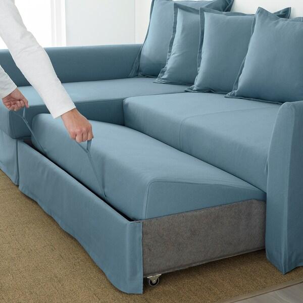HOLMSUND Corner sofa-bed - Gräsbo light blue - IKEA