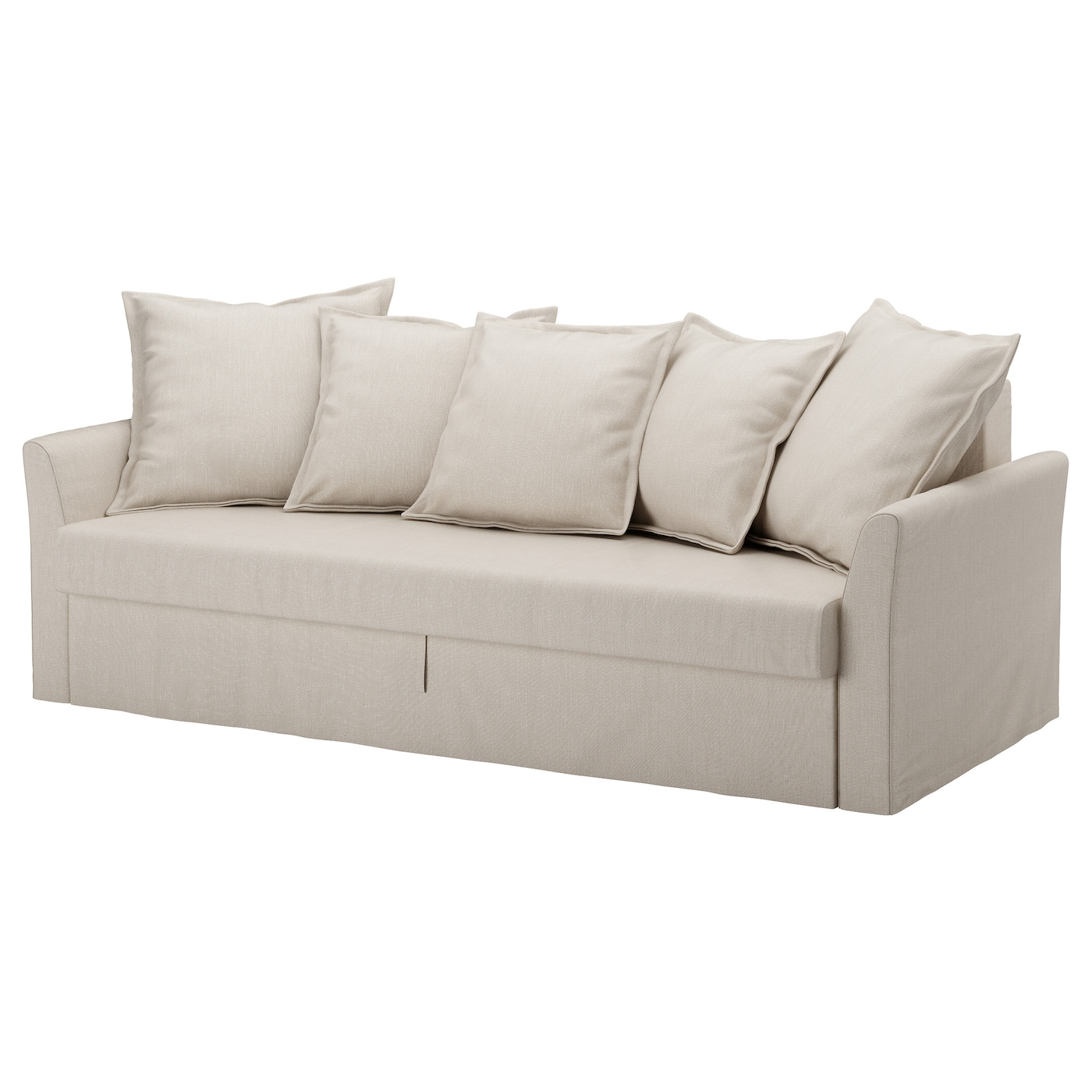 IKEA HOLMSUND three-seat sofa-bed Cover made of extra hard-wearing polyester with a dense texture.