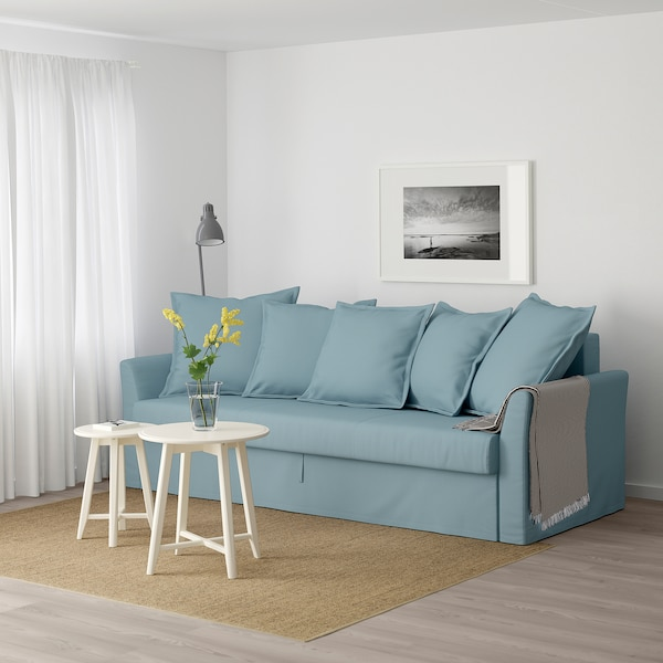 holmsund threeseat sofabed  gräsbo light blue  ikea