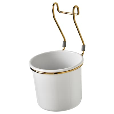 HULTARP Container, white/brass-colour polished, 14x16 cm