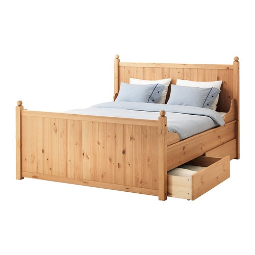 IKEA HURDAL bed frame with 4 storage boxes
