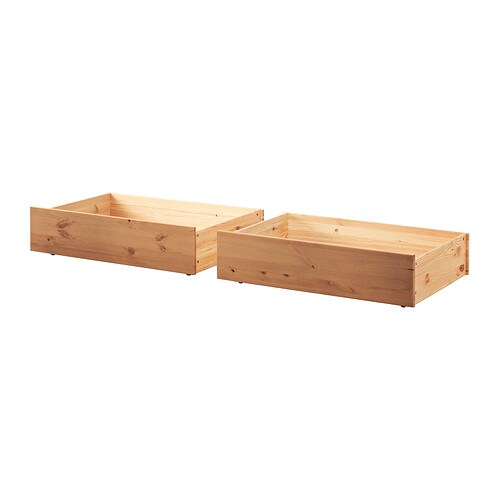 IKEA HURDAL bed storage box Smooth running castors make content easily accessible.