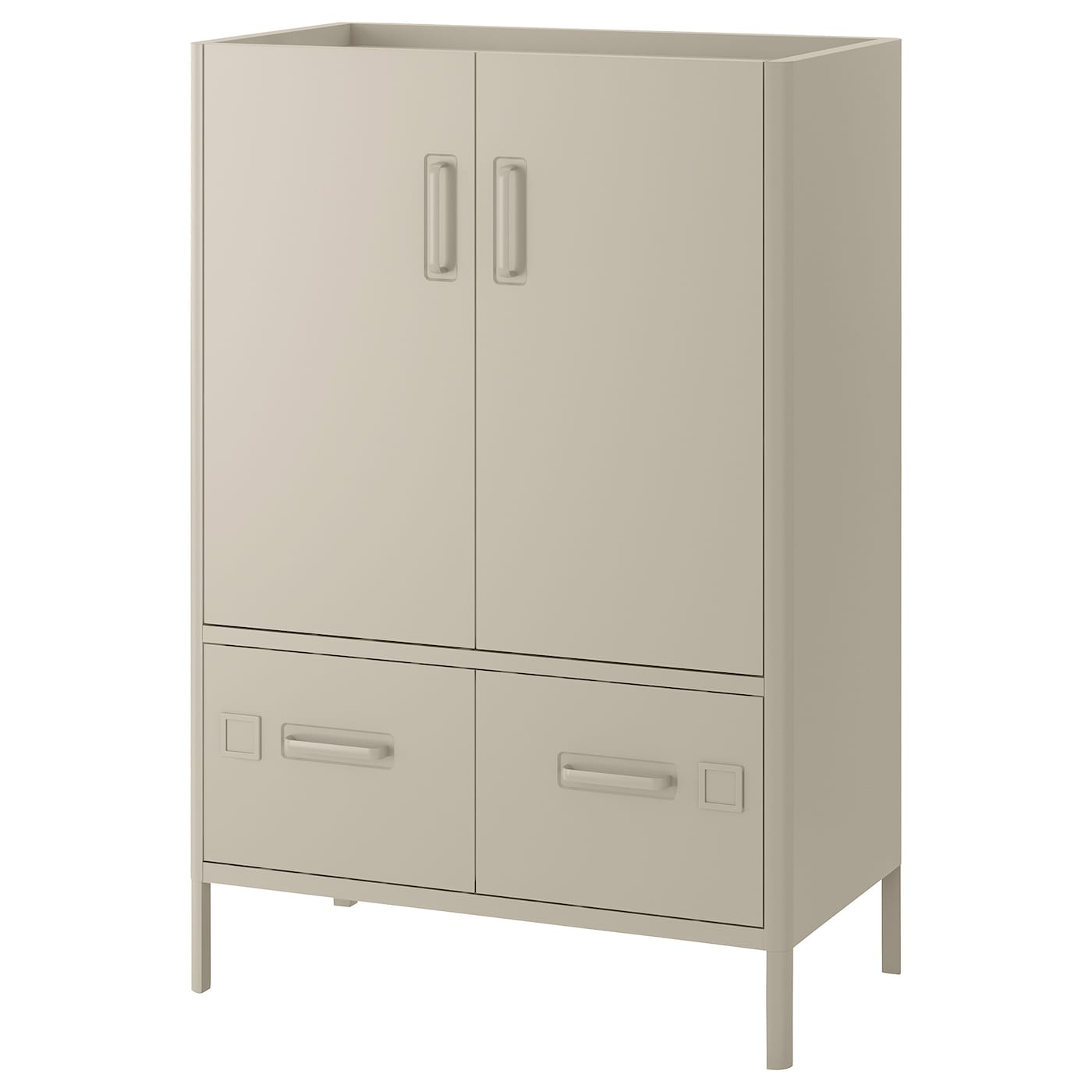 IKEA IDÅSEN cabinet with smart lock Integrated damper closes the drawer silently and gently.