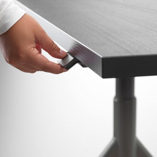 IDÅSEN Desk sit/stand, black/dark grey, 160x80 cm
