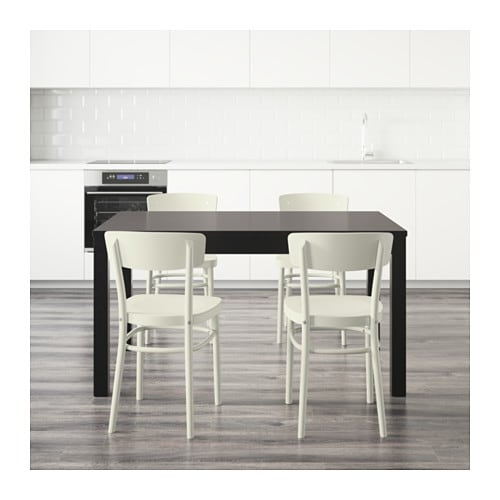 Idolf bjursta table and 4 chairs black brown white 140 cm for Sedie nere ikea