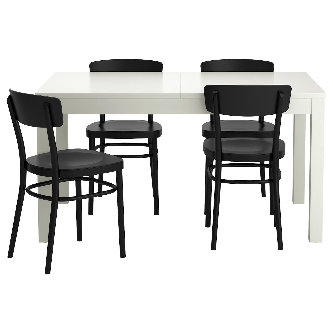 idolf bjursta table and 4 chairs white black 140 cm ikea. Black Bedroom Furniture Sets. Home Design Ideas