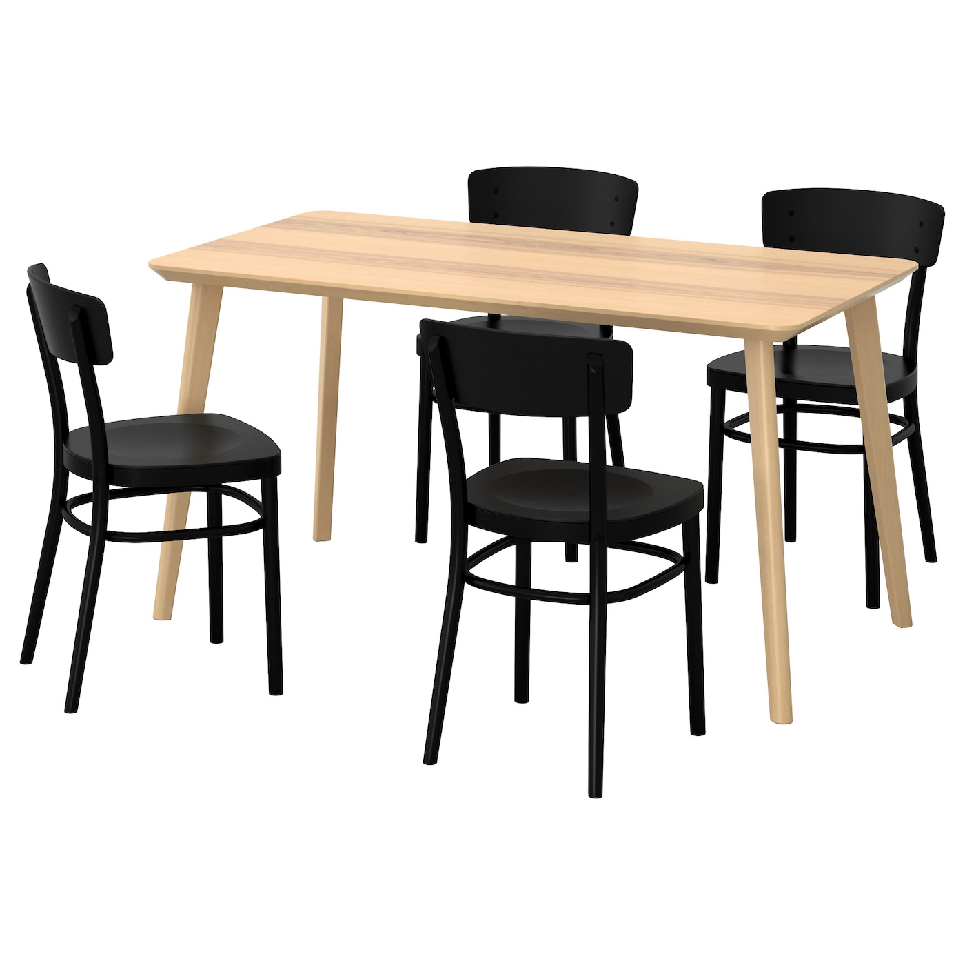 IDOLF/LISABO Table And 4 Chairs Ash Veneer/black 140 X 78