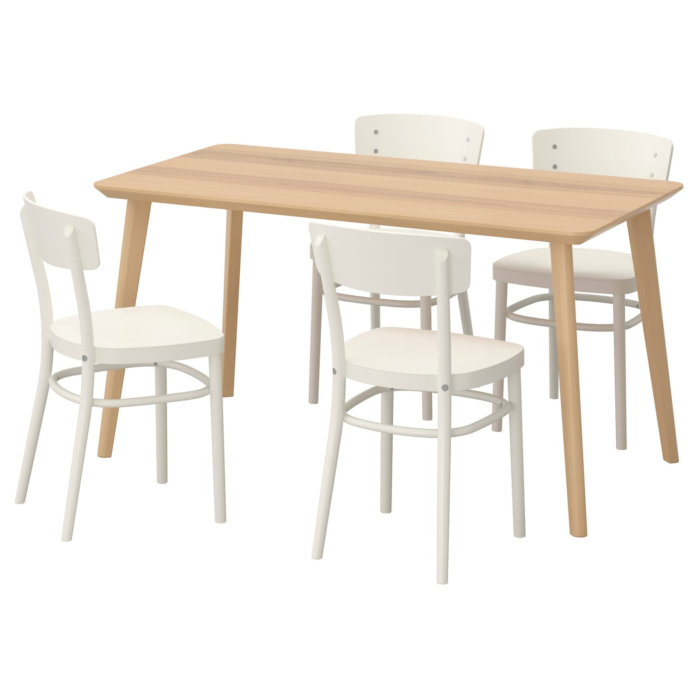 idolf lisabo table and 4 chairs ash veneer white 140 x 78 cm ikea. Black Bedroom Furniture Sets. Home Design Ideas
