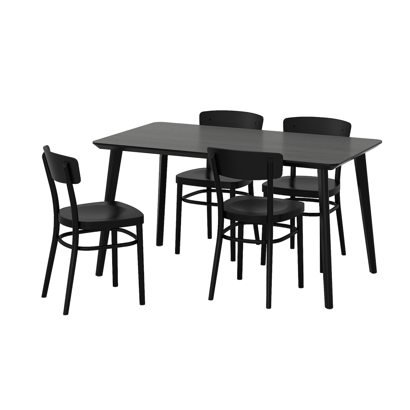 Idolf lisabo table and 4 chairs black black 140x78 cm ikea for Ikea dining table and chairs set