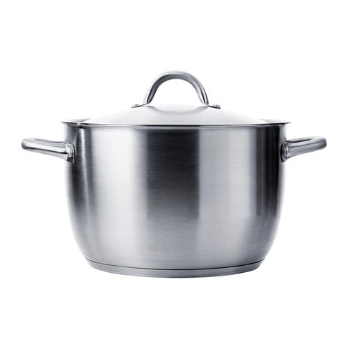 IKEA 365+ Stockpot with lid IKEA Works well on all types of hobs, including induction hob.  Made all in metal; safe to use in the oven as well.