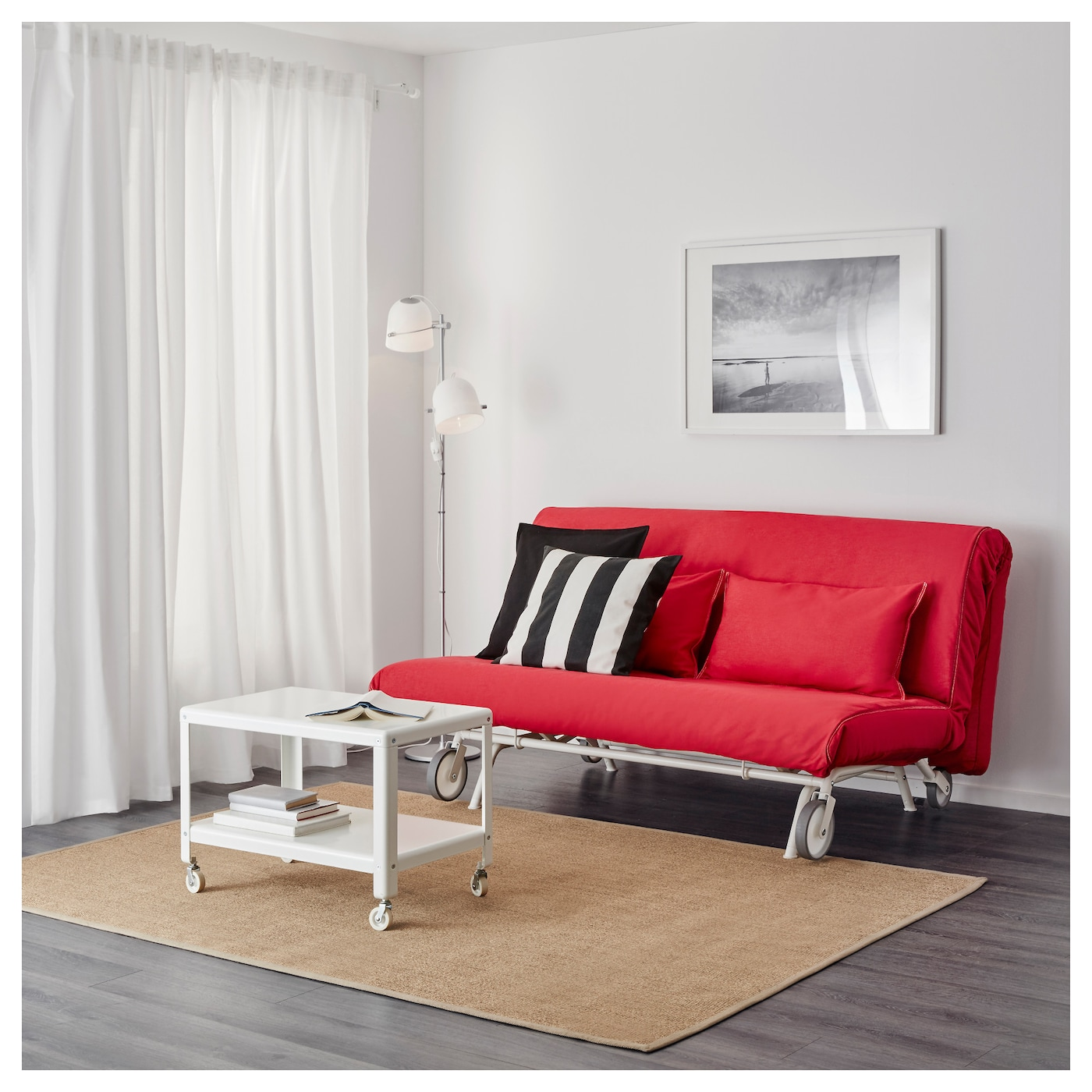 IKEA IKEA PS LÖVÅS two-seat sofa-bed A simple, firm foam mattress for use every night.