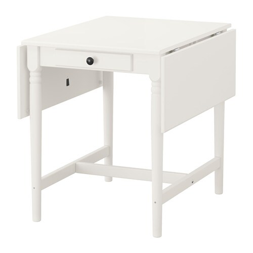 IKEA INGATORP drop-leaf table The clear-lacquered surface is easy to wipe clean.