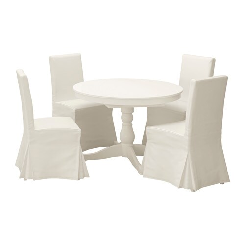 IKEA INGATORP/HENRIKSDAL table and 4 chairs The clear-lacquered surface is easy to wipe clean.