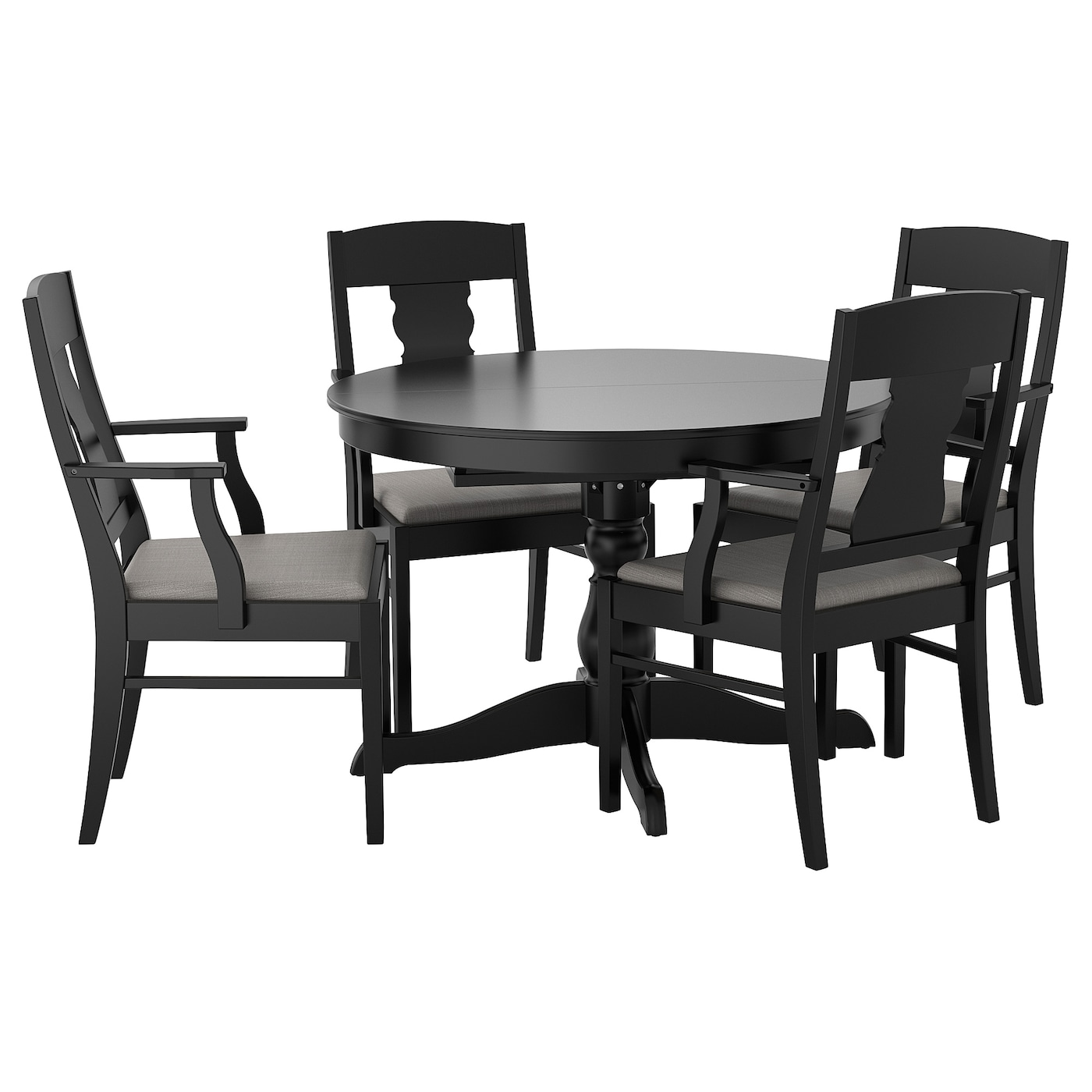 ingatorp ingatorp table and 4 chairs black 100 155 cm ikea. Black Bedroom Furniture Sets. Home Design Ideas