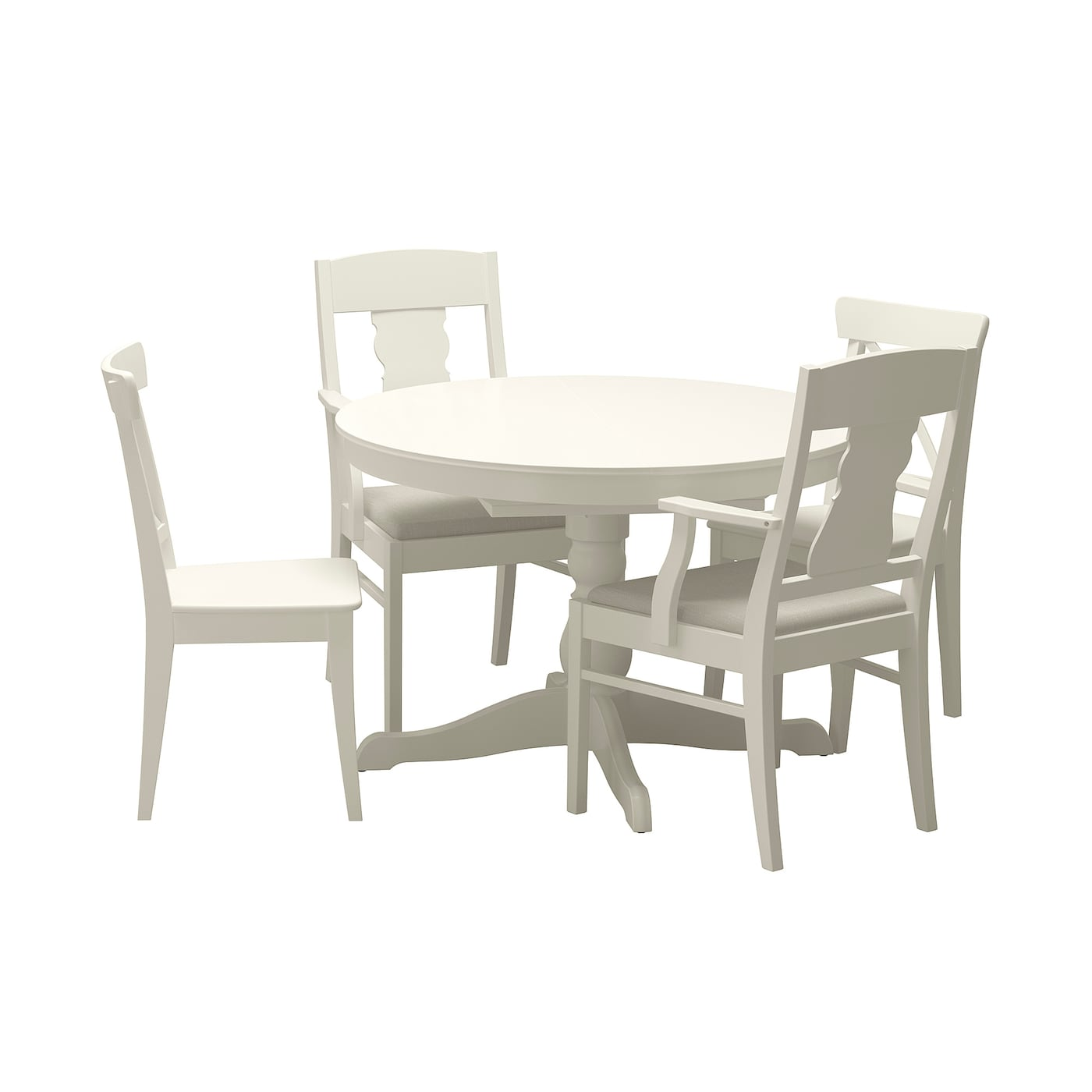 Ingatorp ingolf table and 4 chairs white nordvalla beige - Ikea dining table with 4 chairs ...